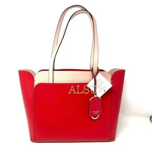 Kate ♠️Spade Small Double Pocket Tote Magnolia Red